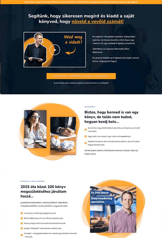Dr. Pető Bence Bestseller Könyvíró Egyetem - weblapmentor értékesítési oldal készítés portfolió