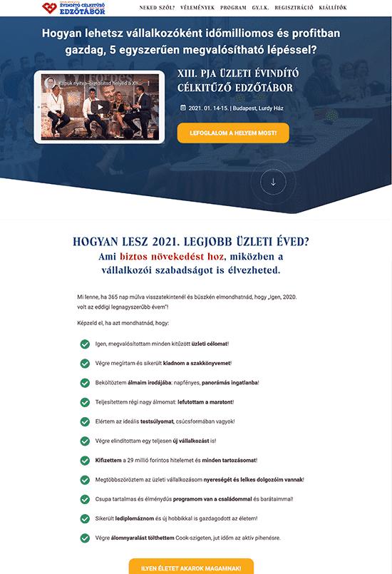 Pongor Publishing Kft - Pongor-Juhász Attila - weblapmentor Évindító célkitűző edzőtábor értékesítési oldal készítés portfolió