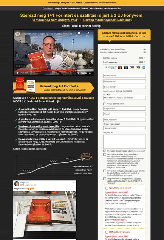 Pongor Publishing Kft - Pongor-Juhász Attila - weblapmentor Marketing Nem ördögtől valókönyv értékesítési oldal készítés portfolió