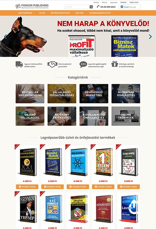 Pongor Publishing Kft - Pongor-Juhász Attila - weblapmentor Pongor Üzleti Könyvek webáruház készítés portfolió