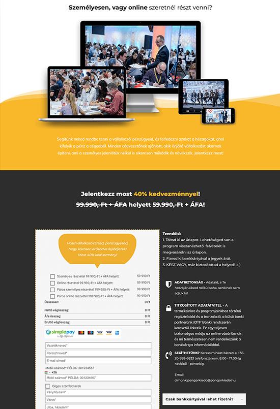 Pongor Publishing Kft - Pongor-Juhász Attila - weblapmentor Profitmaximalizáló nap értékesítési oldal készítés portfolió