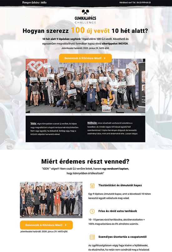 Pongor Publishing Kft - Pongor-Juhász Attila - weblapmentor kihívás feliratkozási oldal készítés portfolió